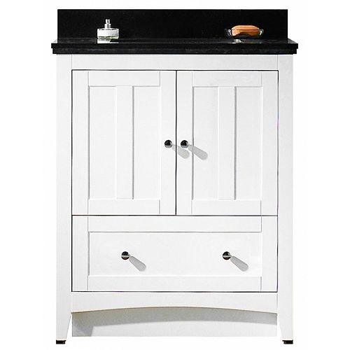 American Imaginations Modern 30.5 inch W Vanity in White with Vanity Top in Black Galaxy with Biscuit Sink