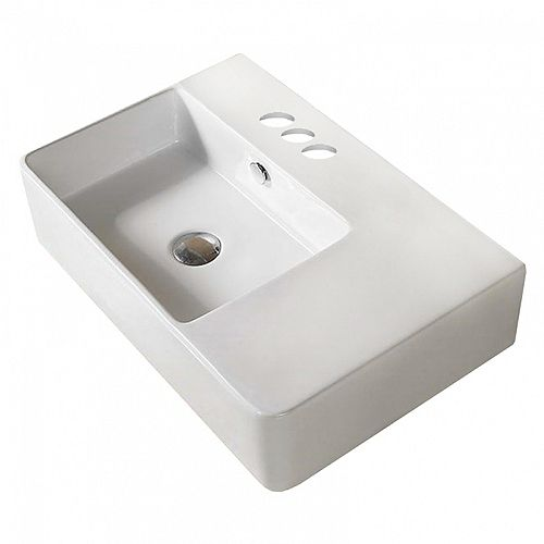 American Imaginations 16.1-inch D White Sink