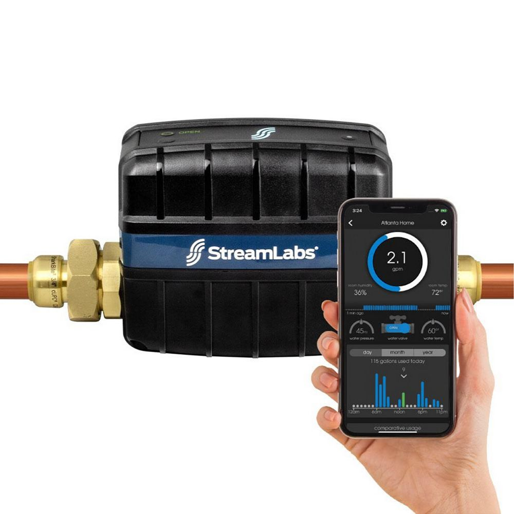 SharkBite Streamlabs Smart Home 1 inch Water Monitor and Control System with SharkBite
