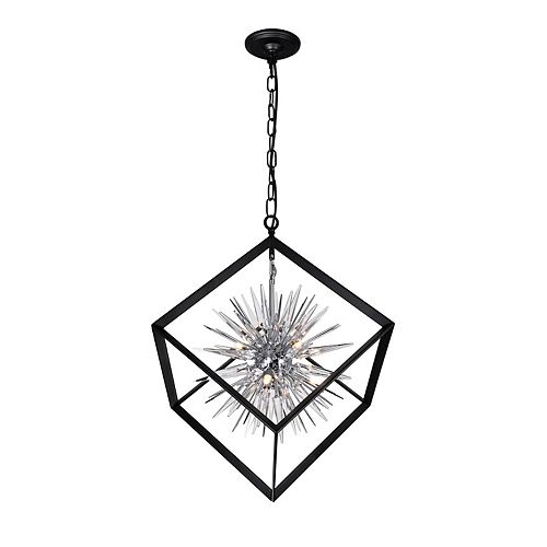 CWI Lighting 6 Light chandelier with Chrome & Black Finish