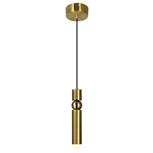 CWI Lighting LED mini pendant with Brass Finish