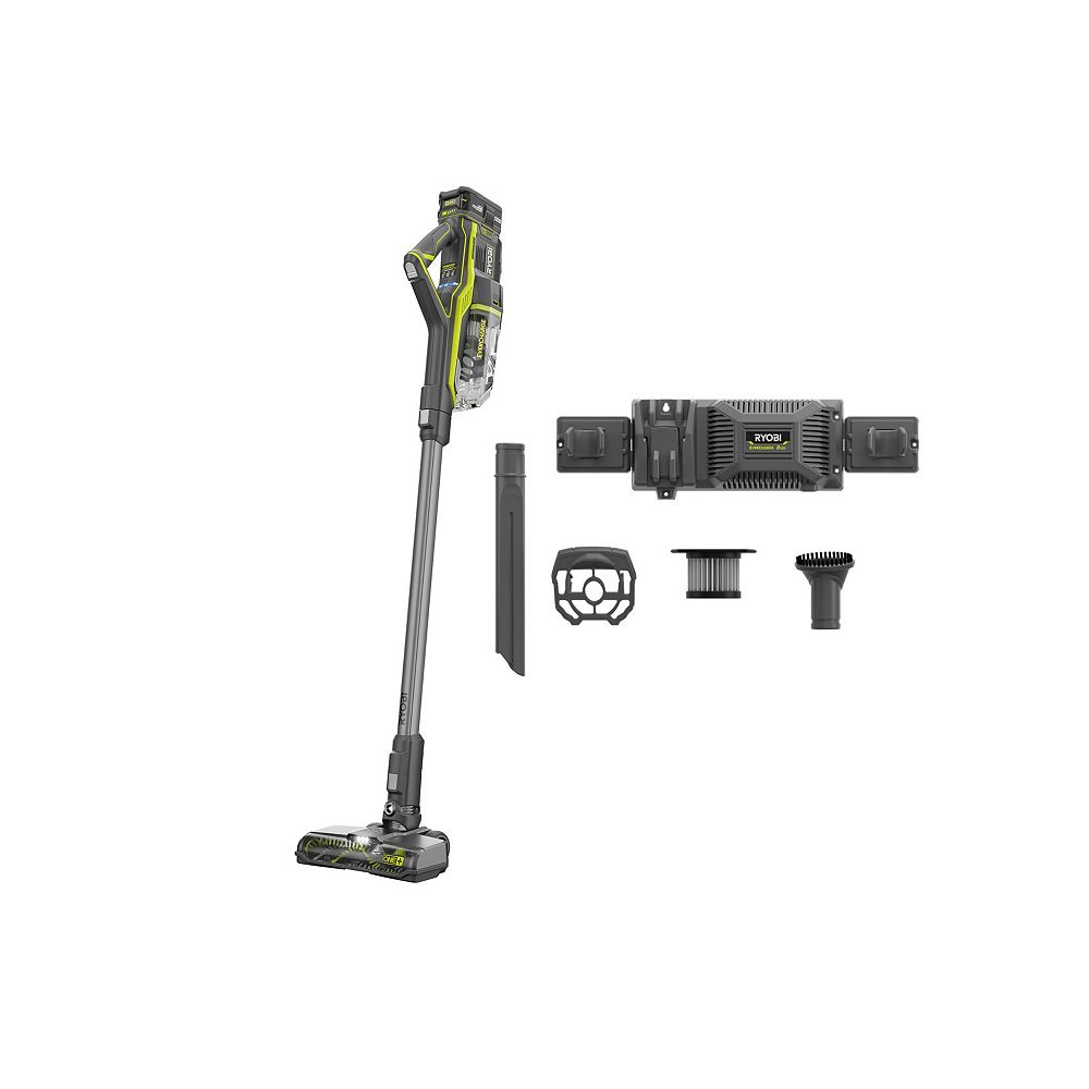 RYOBI 18V One+ EverCharge Stick Vacuum Kit with (1) 4.0 Ah Lithium-Ion High Capacity Battery and Charger