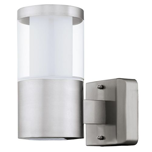 Basalgo 1-Stainless Steel Finish LED Outdoor Wall Light with White & Clear Acrylic Shade