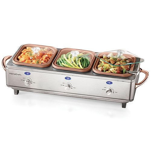 HomeCraft DCBS15 Deluxe Stainless Steel 3-Tray Cook and Serve Buffet