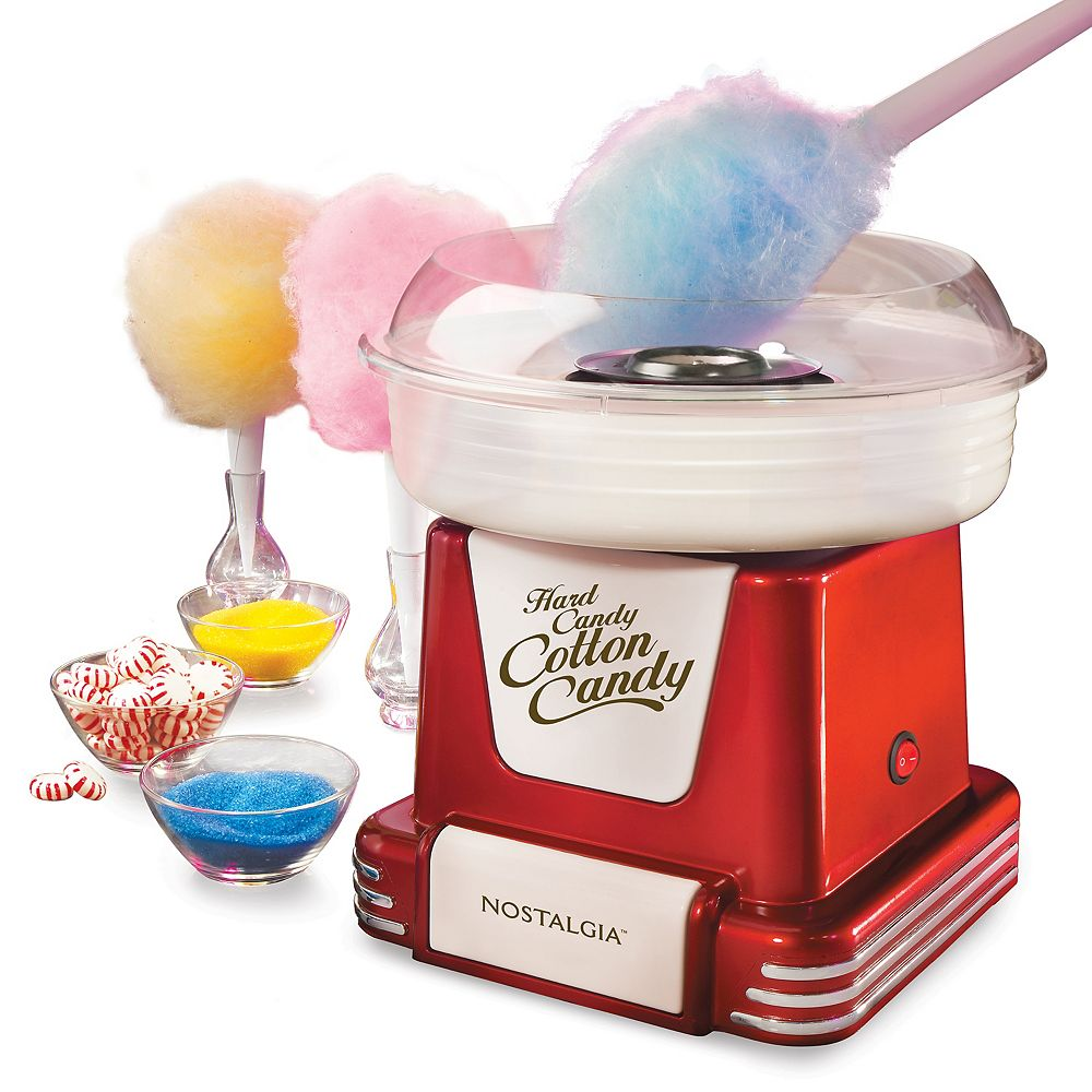 Nostalgia Nostalgia PCM805RETRORED Retro Hard & Sugar-Free Candy Cotton Candy Maker
