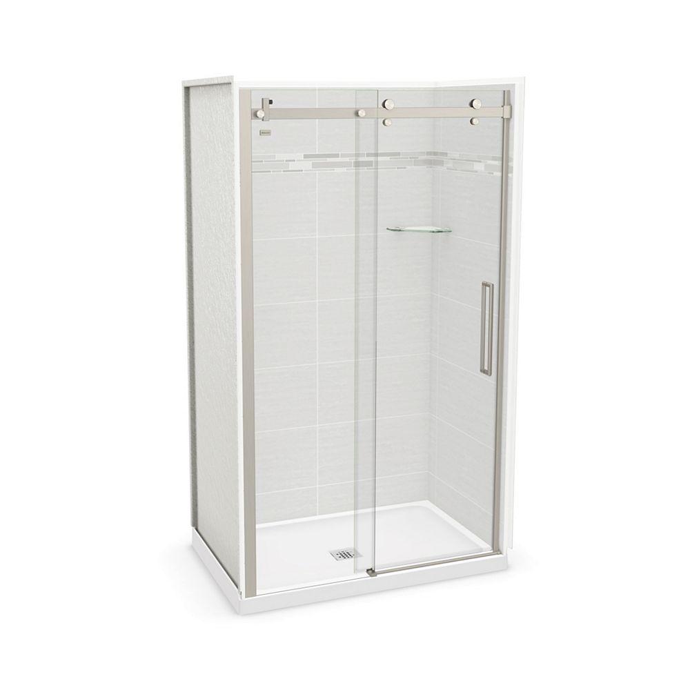 MAAX Utile 48-inch x 32-inch x 84-inch Origin Arctik Alcove Shower Center Drain, Halo Door Brushed Nickel