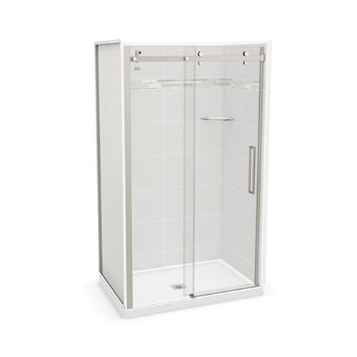 Utile 48-inch x 32-inch x 84-inch Origin Arctik Alcove Shower Center Drain, Halo Door Brushed Nickel