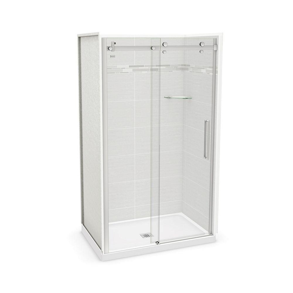 MAAX Utile 48-inch x 32-inch x 84-inch Origin Arctik Alcove Shower, Center Drain, Halo Door Chrome