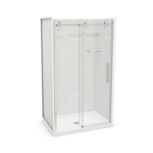 Utile 48-inch x 32-inch x 84-inch Origin Arctik Alcove Shower, Center Drain, Halo Door Chrome