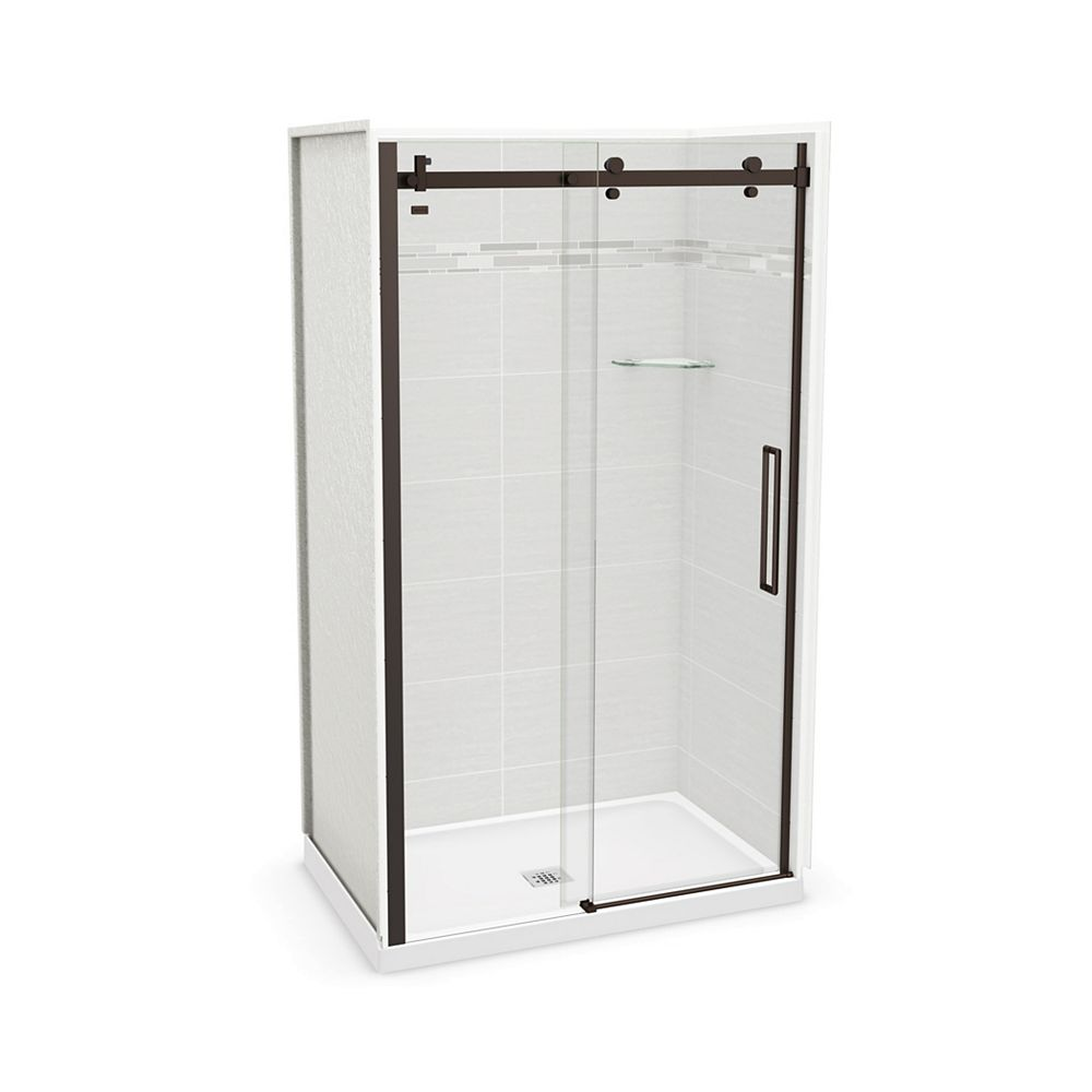 MAAX Utile 48-inch x 32-inch x 84-inch Origin Arctik Alcove Shower, Center Drain, Halo Door Dark Bronze