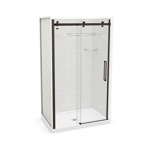 Utile 48-inch x 32-inch x 84-inch Origin Arctik Alcove Shower, Center Drain, Halo Door Dark Bronze