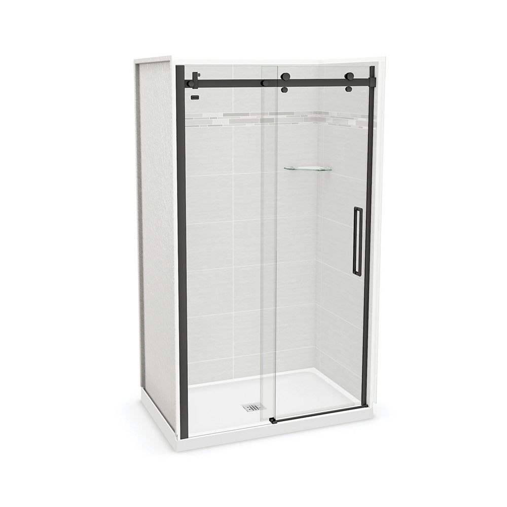 MAAX Utile 48-inch x 32-inch x 84-inch Origin Arctik Alcove Shower, Center Drain, Halo Door Matte Black
