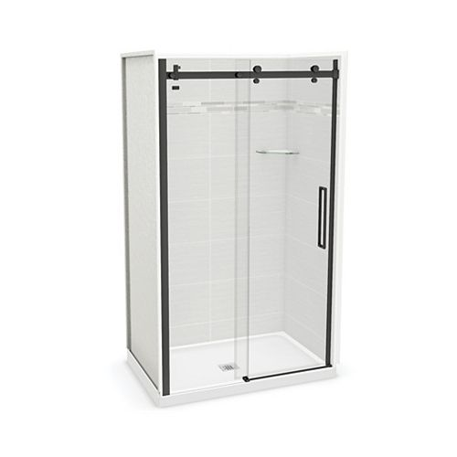 Utile 48-inch x 32-inch x 84-inch Origin Arctik Alcove Shower, Center Drain, Halo Door Matte Black