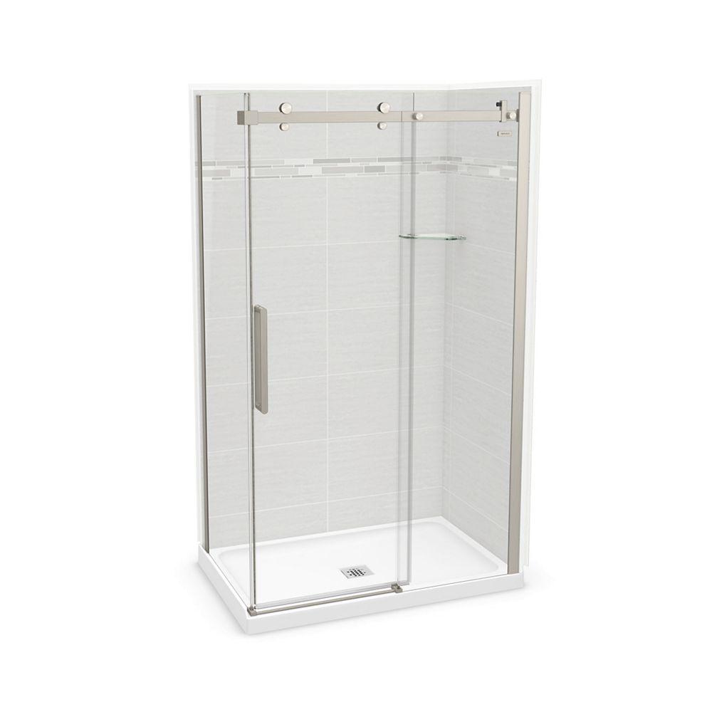 MAAX Utile 48-inch x 32-inch x 84-inch Origin Arctik Corner Shower Center Drain, Halo Door Brushed Nickel