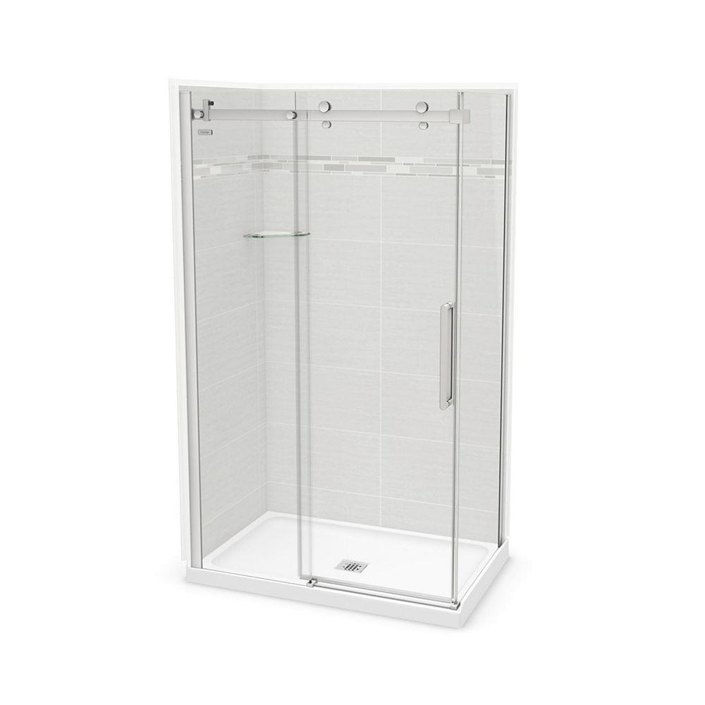 MAAX Utile 48-inch x 32-inch x 84-inch Origin Arctik Corner Shower, Center Drain, Halo Door Chrome