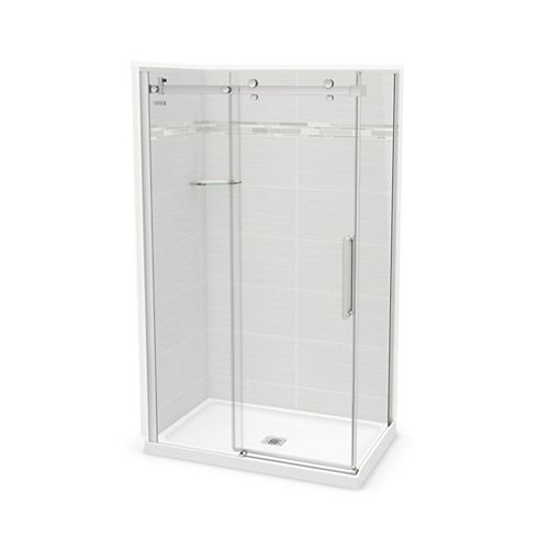 Utile 48-inch x 32-inch x 84-inch Origin Arctik Corner Shower, Center Drain, Halo Door Chrome