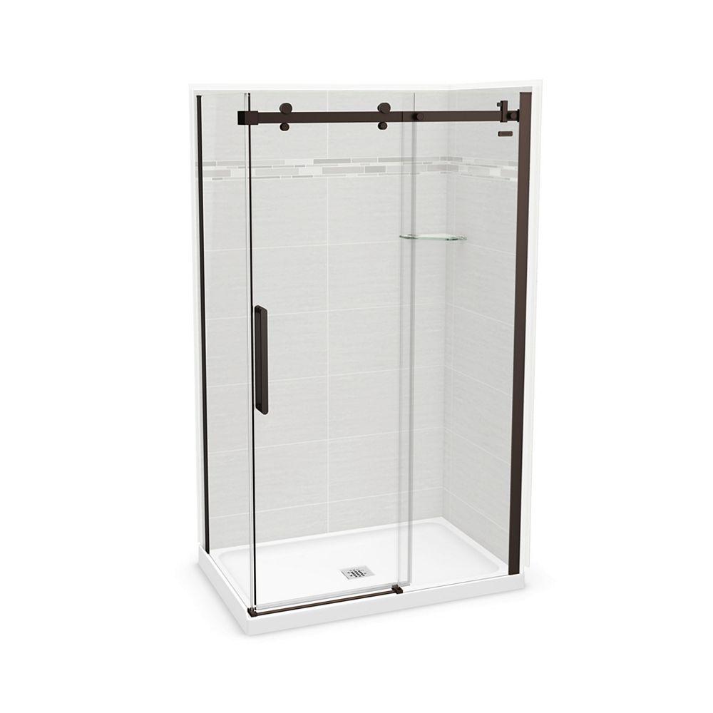 MAAX Utile 48-inch x 32-inch x 84-inch Origin Arctik Corner Shower, Center Drain, Halo Door Dark Bronze