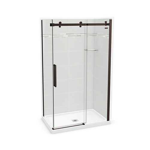 Utile 48-inch x 32-inch x 84-inch Origin Arctik Corner Shower, Center Drain, Halo Door Dark Bronze