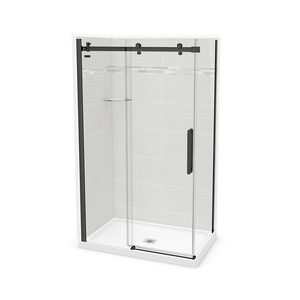 MAAX Utile 48-inch x 32-inch x 84-inch Origin Arctik Corner Shower, Center Drain, Halo Door Matte Black