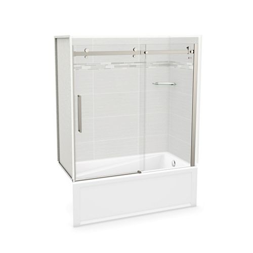 MAAX Utile 60-inch x 30-inch x 81-inch Origin Arctik Tub Shower, Right Drain, Halo Door Brushed Nickel