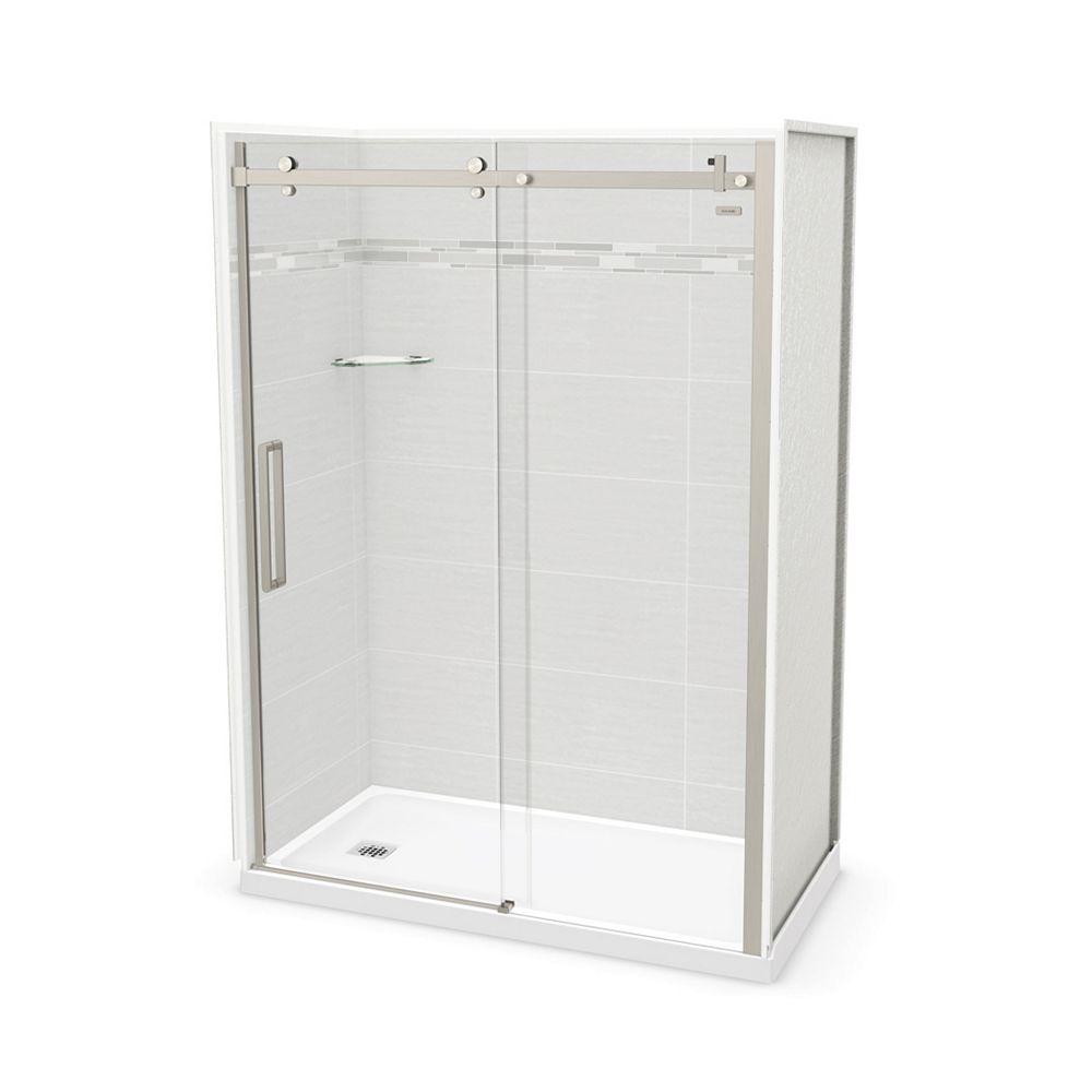 MAAX Utile 60-inch x 32-inch x 84-inch Origin Arctik Alcove Shower, Left Drain, Halo Door Brushed Nickel