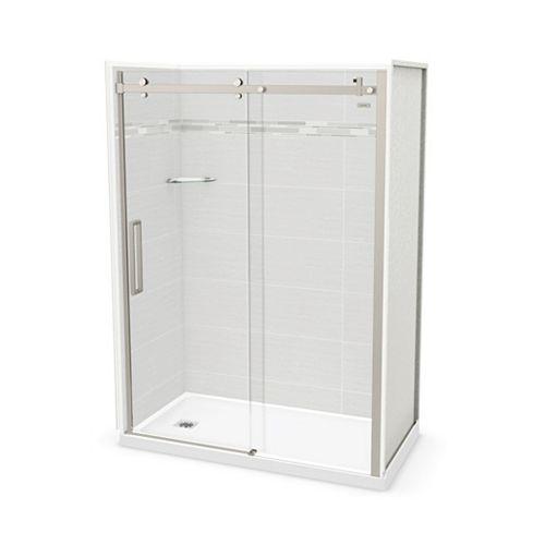 Utile 60-inch x 32-inch x 84-inch Origin Arctik Alcove Shower, Left Drain, Halo Door Brushed Nickel