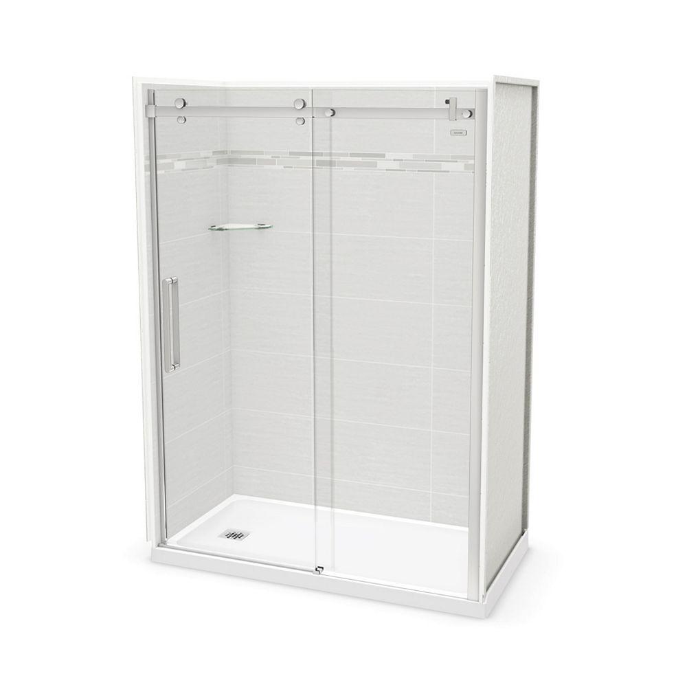 MAAX Utile 60-inch x 32-inch x 84-inch Origin Arctik Alcove Shower, Left Drain, Halo Door Chrome