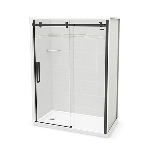Utile 60-inch x 32-inch x 84-inch Origin Arctik Alcove Shower, Left Drain, Halo Door Matte Black