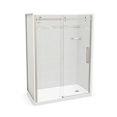 Utile 60-inch x 32-inch x 84-inch Origin Arctik Alcove Shower, Right Drain, Halo Door Brushed Nickel