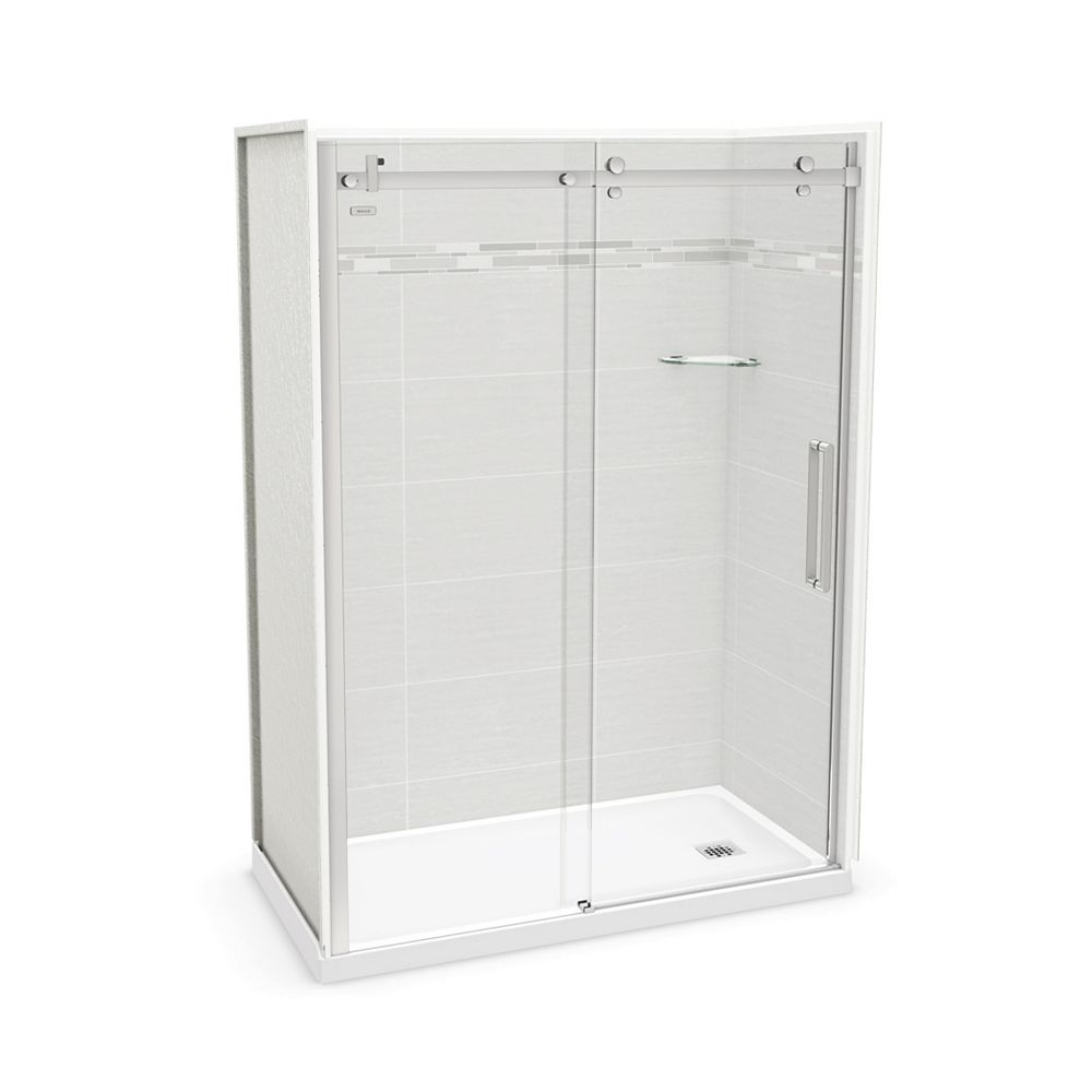 MAAX Utile 60-inch x 32-inch x 84-inch Origin Arctik Alcove Shower, Right Drain, Halo Door Chrome