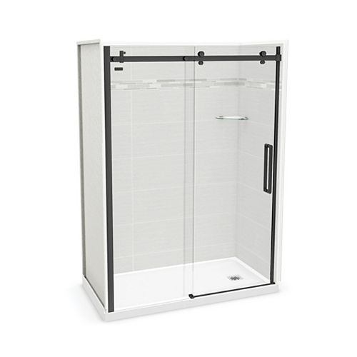Utile 60-inch x 32-inch x 84-inch Origin Arctik Alcove Shower, Right Drain, Halo Door Matte Black