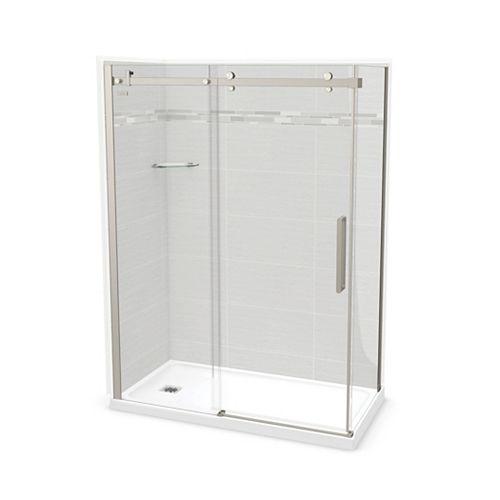 Utile 60-inch x 32-inch x 84-inch Origin Arctik Corner Shower, Left Drain, Halo Door Brushed Nickel
