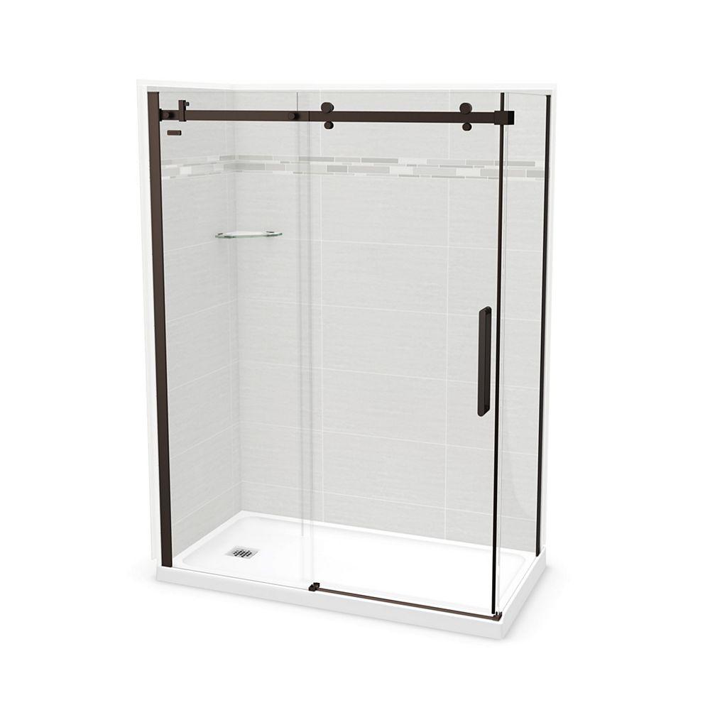 MAAX Utile 60-inch x 32-inch x 84-inch Origin Arctik Corner Shower, Left Drain, Halo Door Dark Bronze