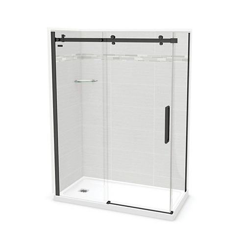 Utile 60-inch x 32-inch x 84-inch Origin Arctik Corner Shower, Left Drain, Halo Door Matte Black