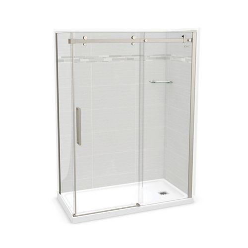Utile 60-inch x 32-inch x 84-inch Origin Arctik Corner Shower, Right Drain, Halo Door Brushed Nickel