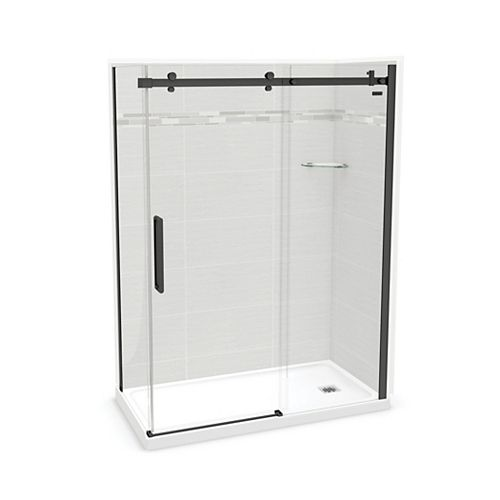 Utile 60-inch x 32-inch x 84-inch Origin Arctik Corner Shower, Right Drain, Halo Door Matte Black