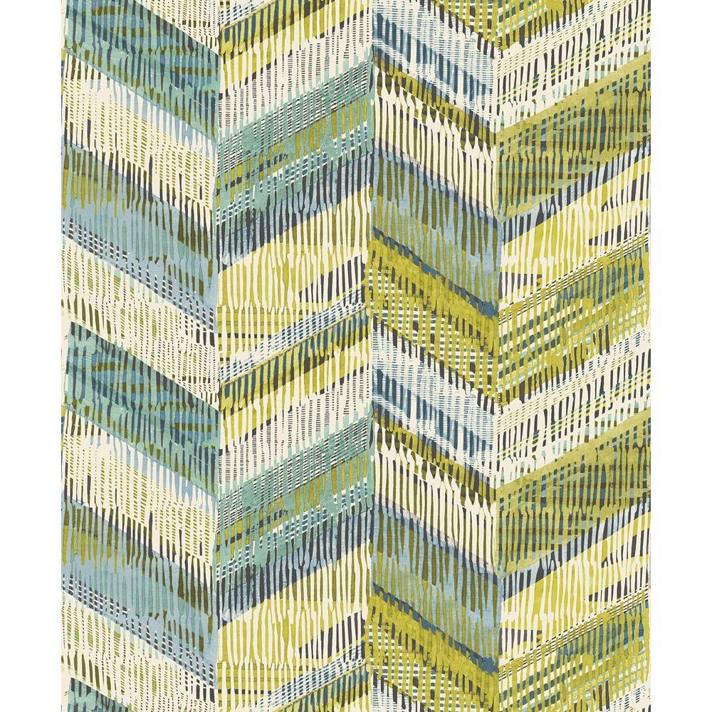 Arthouse Chevron Weave Lime Non-Woven Wallpaper