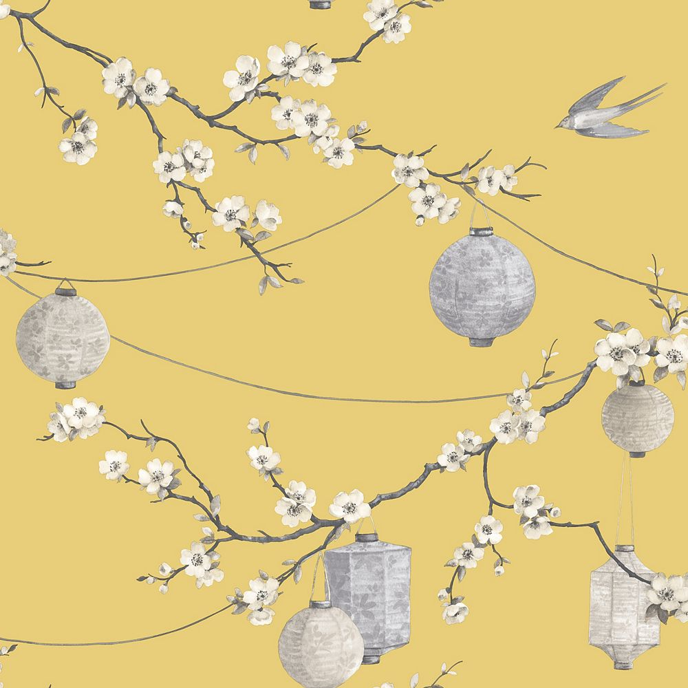 Arthouse Chinese Garden Yellow Wallpaper