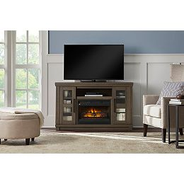 Caufield 54-inch Media Console Infrared Electric Fireplace in Honey Ash