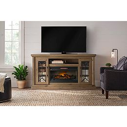 Madison 68-inch Media Console Infrared Electric Fireplace in Natural Rustic Oak