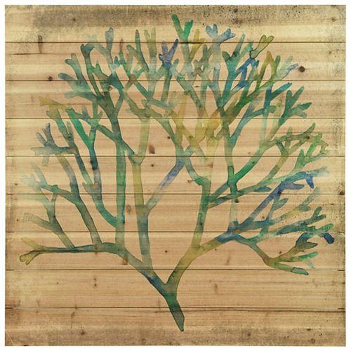 Empire Art Direct Watercolor Coral Arte de Legno Digital Print on Solid Wood Wall Art