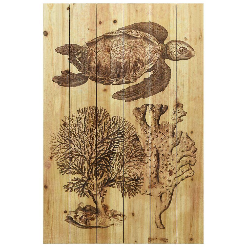 Empire Art Direct Tortue de mer sous-marine Impression numérique Arte de Legno sur Art mural en bois massif