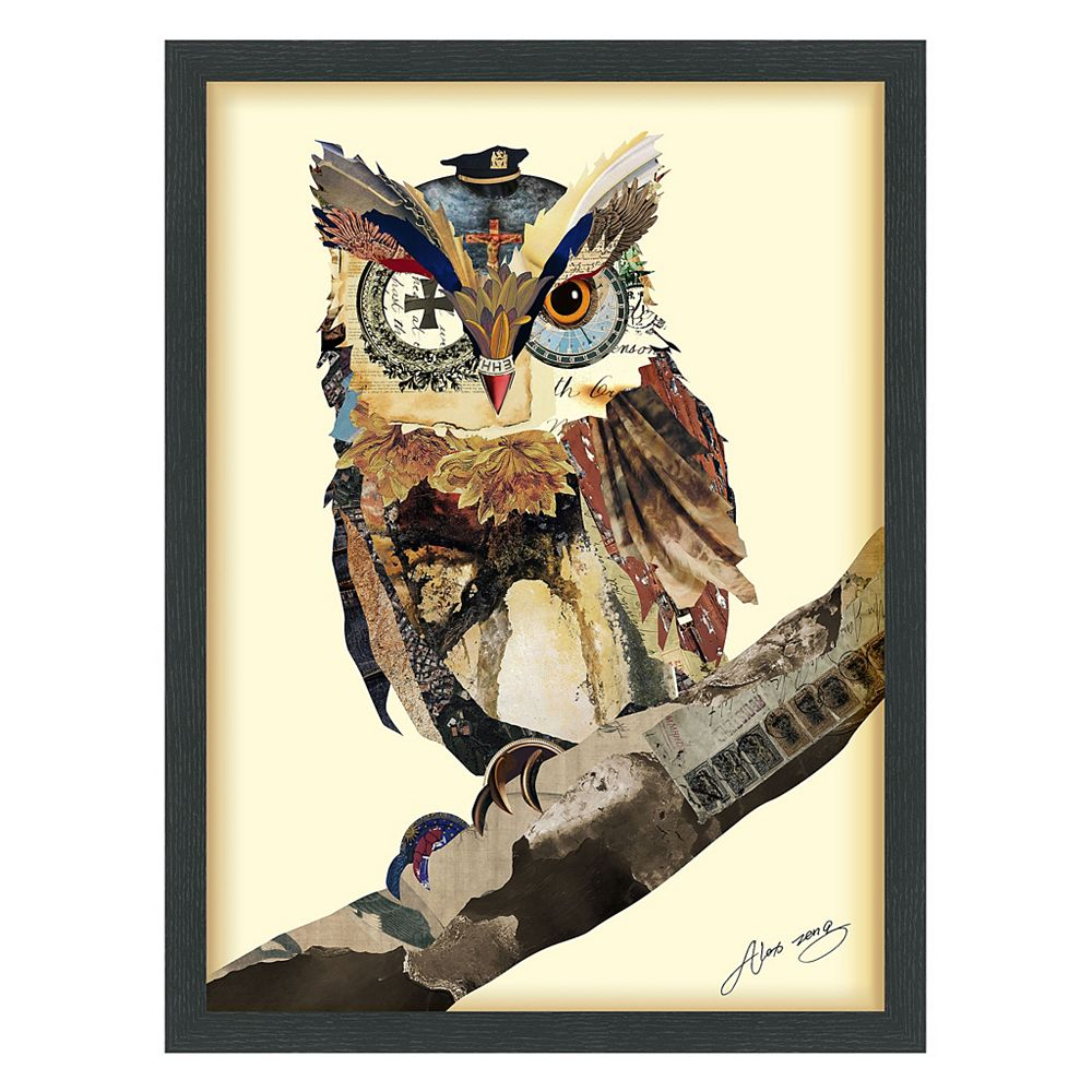 Empire Art Direct The Wisest Owl Paper Collage Under Glass with Black Wood Frame Wall Art
