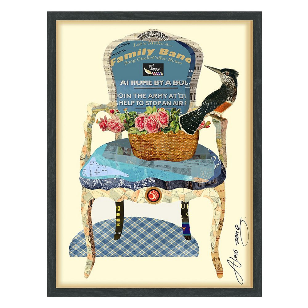 Empire Art Direct Antique Chair Paper Collage Under Glass with Black Wood Frame Wall Art