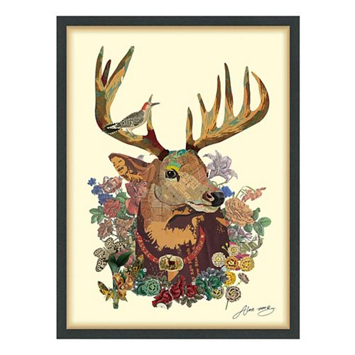 Empire Art Direct Mr. Deer Paper Collage Under Glass with Black Wood Frame Wall Art