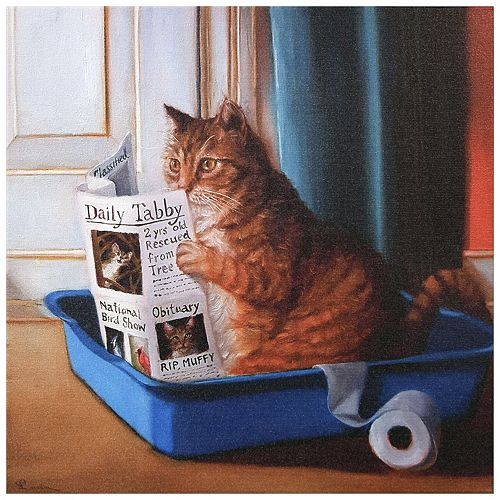 Cat On A Throne Graphic Art Print on Wrapped Canvas Wall Art