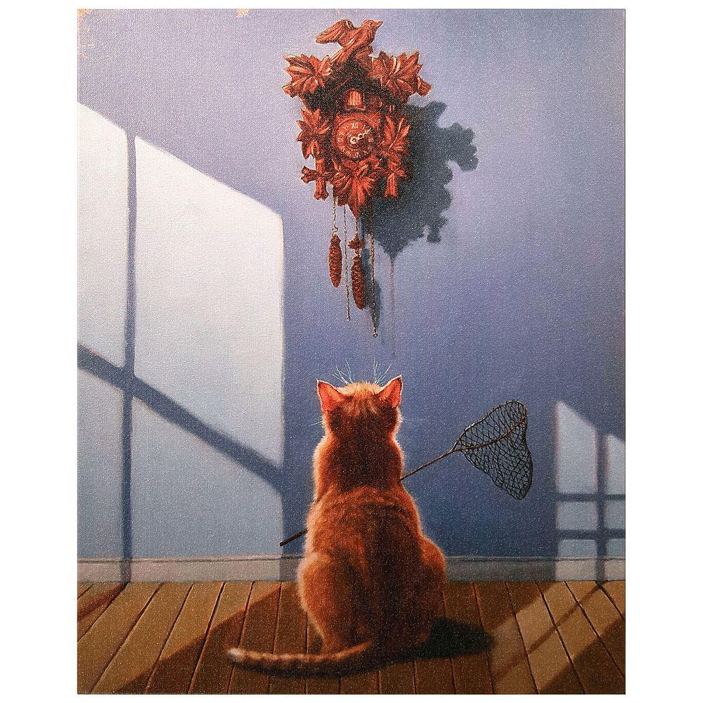 Empire Art Direct A Timely Lunch Graphic Art Print on Wrapped Canvas Cat Wall Art