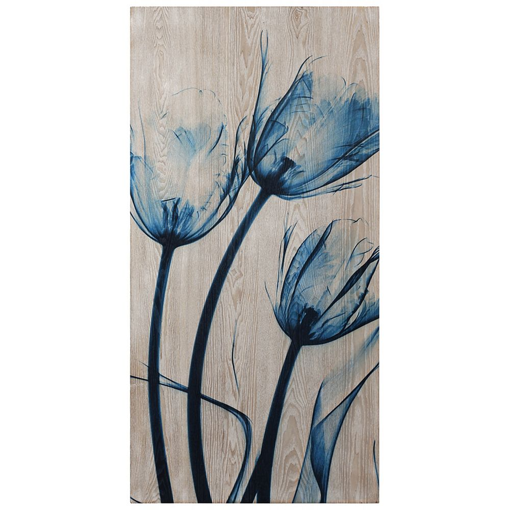 Empire Art Direct Tulips is Blue Fine Giclee Printed Directly on Hand Finished Ash Wood Wall Art