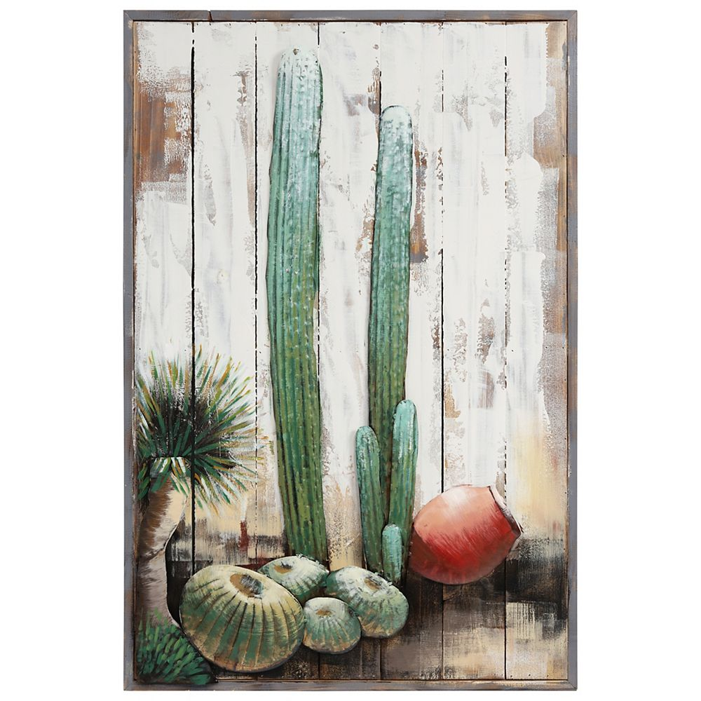 Empire Art Direct Cacti Handed Painted Iron Wall sculpture on Wooden Wall Art