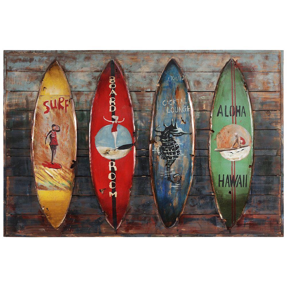 Empire Art Direct Canoës Sculpture murale en fer peint à la main sur Art mural en bois